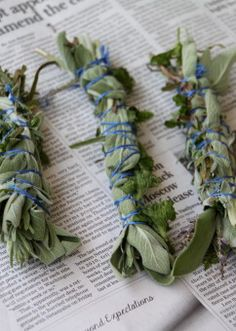 Repel mosquitoes by burning these lavender, sage and mint bundles.