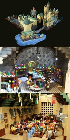 Alice Finch has created a massive model of Harry Potter's Hogwarts School of Witchcraft and Wizardry using about LEGO bricks Lego Ninjago, Minifigures Lego, Lego Duplo, Lego Harry Potter, Harry Potter Love, Harry Potter Hogwarts, Hogwarts Lego, Lord Voldemort, Lego Marvel