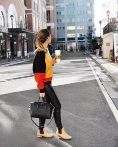 She Does Fashion: Starbucks Run  Urban Outfitters, ASOS, Levis, Antigona, Givenchy Antigona, #givenchyantigona, denim pants, color block, Starbucks, Coffee, Latte Macchiato, #butfirstcoffee, luxury, high end, hughstreet, streetstyle
