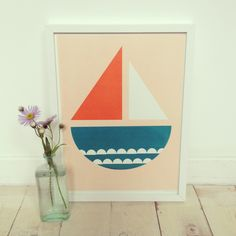 Hand silk screen printed 'Sailboat' print, available in a lovely soft peach or sunshine yellow. The print measures 30X40 cm approx and is printed onto thick 300 gsm textured paper, each print is signed and dated. All of our prints are perfect for a children's or adults too!Printed by ourselves in the north of England.Prints are sold unframed.*Please note that due to the printing process some variations between products may occur, meaning that your purchase is super speci...