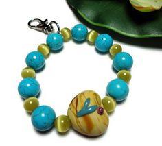 Bracelet Wristlet Key or Id Holder Turquoise Howlite Heart Stretch S-L   PinkCloudsAndAngels -  #AFPOUNCE