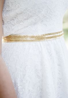 Bea gold sash....chevroned bugle beads in a soft gold!