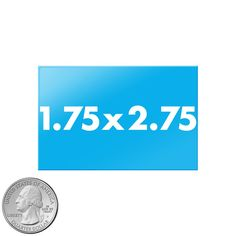1.75x2.75 inch rectangle buttons size compared to quarter