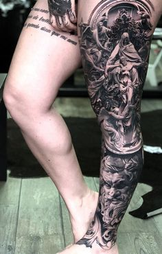45 People Who Got Awesome Leg Tattoos DeMilked tattoo - Tattoos And Body Art - Tattoo - Tattoo Leg Tattoo Men, Sleeve Tattoos For Women, Tattoos For Guys, Male Leg Tattoos, Leg Sleeve Tattoos, Tattoo Sleeves, Tattoos Skull, Body Art Tattoos, Tribal Tattoos
