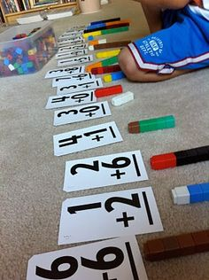 snap cubes and flashcards for math facts (great for kinesthetic and visual learners, yes?)