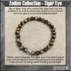 Zodiac Collection: Tiger Eye Yoga Mala Bead Bracelet