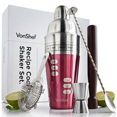 VonShef 15 Recipe Cocktail Shaker Set with Twisted Bar Spoon, Hawthorne Strainer, 0.5oz & 1oz Measuring Jigger & Wooden Muddler - Red