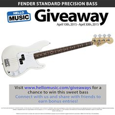 #Giveaway Win a Fender Precision Bass from Hello Music this April! Enter at www.hellomusic.com/giveaways
