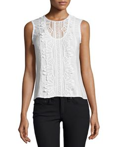 Sleeveless+Lace-Appliqué+Top,+White+at+CUSP.
