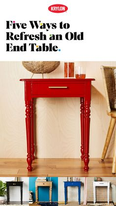 Nothing makes old look new like a can of Krylon® Spray Paint. In minutes, that project will pop with a colorful, long-lasting finish. Refurbished Furniture, Paint Furniture, Repurposed Furniture, Furniture Projects, Furniture Makeover, Home Projects, Old End Tables, Krylon Spray Paint, Be Design