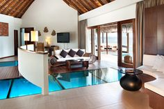 W Hotels North Ari Atoll: W Retreat & Spa - Maldives - Hotel Rooms at whotels >> glass bottom floor in the living room!