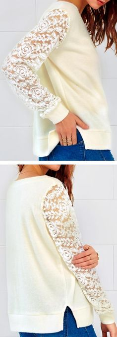 Only $19.99 and faster free shipping! This white, lace looks very young. I think it is perfect for you. Slit at side is the thoughtful detail to make the piece unique. Show off your elegance & beauty in this Lace Splicing Top.