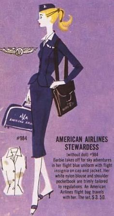 Vintage Airline Travel: American Airlines Barbie Outfit. #aviationglamourtravelposters #aviationhumorairports