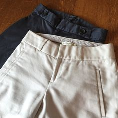 """Banana Republic Martin Fit pants bundle size 0  Very nice beige and steel blue Martin Fit pants size 0. I've outgrown them!  . Inseam 31"""".  Waist is 13.5"""".  Thigh circumference is 17.5"""" and hem circumference is 19"""".   EUC ❤️ Banana Republic Pants"""