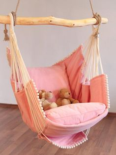 Hammock chair (Pink) This chair is perfect for drinking wine, reading, watching TV or simply chilling. It is ideal as a decoration in your house - in your living room, bed. Hammock Chair, Swinging Chair, Bedroom Chair, Bedroom Decor, Bedroom Hammock, Toddler Rooms, Toddler Girl, Kids Rooms, Little Girl Rooms
