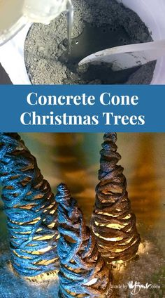 Easy concrete project using portland cement, simple forms and yarn. Easy concrete project using portland cement, simple forms and yarn. Add sparkle to make whatever size you like. Incombustible concrete for candle holders! Pallet Wood Christmas Tree, Cone Christmas Trees, Xmas Tree, Christmas Crafts, Cone Trees, Concrete Crafts, Concrete Projects, Concrete Art, Concrete Leaves