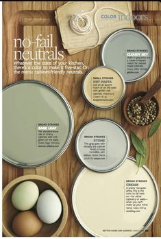 I have sage color on my kitchen walls. It looks great with the oak cabinets and wooden floor. I just need to change the handles from gold to silver. Neutral wall colors for oak cabinets - Forrest Forrest Forrest Forrest Felice Neutral Paint Colors, Neutral Color Scheme, Interior Paint Colors, Neutral Palette, Neutral Kitchen Colors, Interior Design, Yellow Paint Colors, Kitchen Color Schemes, Dutch Boy Paint Colors