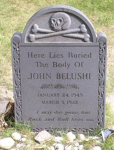 "Amazing epitaph: ""I may be gone but rock and roll lives on"" John Belushi Cemetery Monuments, Cemetery Statues, Cemetery Headstones, Old Cemeteries, Cemetery Art, Graveyards, Angel Statues, Natalie Wood, Unusual Headstones"