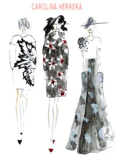 A Carolina Herrera fashion illustration by Chanelle Siddle, found in The Royal Obsession Magazine Issue #3