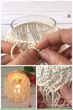 DIY Macrame Candle Holder Tutorial with easy video tutorial to make a Macrame De. - DIY Macrame Candle Holder Tutorial with easy video tutorial to make a Macrame Decoration around a g - Macrame Wall Hanging Diy, Macrame Plant Hangers, Macrame Art, Macrame Projects, Macrame Knots, Macrame Headband, Macrame Curtain, Weaving Projects, Macrame Jewelry