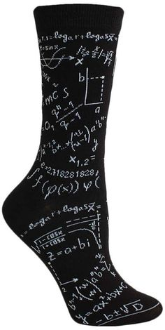 Genius Socks -- Dear algebra, please stop asking us to find your x. She doesn't want to talk to you. Black crew length socks that look like a blackboard covered with chalk equations. Fits women's shoe size : the sock drawer Funny Socks, Cute Socks, My Socks, High Socks, Mein Style, Crazy Socks, Happy Socks, Fashion Socks, Sock Shoes
