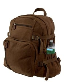 Pin it! :)  Follow us :))  zCamping.com is your Camping Product Gallery ;) CLICK IMAGE TWICE for Pricing and Info :) SEE A LARGER SELECTION of Camping Daypack Backpacks at http://zcamping.com/category/camping-categories/camping-backpacks/daypack-backpacks/ - camping, backpacks, daypacks camping gear, camp supplies - Rothco Large Vintage Canvas Backpack (Brown) « zCamping.com