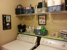 Small laundry room idea- the shelf right above washer/dryer
