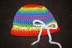 Crochet baby / newborn hat rainbow with white by MorganBrynDesigns, $15.00