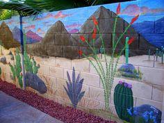 Artistic Joys cubit: Murals for the Outdoors forum: Block Wall Desert Mural Cement Walls, Concrete Wall, Outdoor Wall Art, Outdoor Walls, Outdoor Rooms, Cinder Block Walls, Garden Mural, Mural Painting, Fence Painting