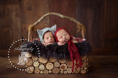 Twin newborn Red riding hood wolf twins newborns #wildphotography  Iowa Newborn Photographer www.facebook.com/wildphotographybytori.com Wild Photography, Image Photography, Photography Poses, Newborn Twins, Newborn Poses, Newborns, Red Riding Hood Wolf, Newborn Photographer, Infant
