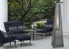 7-Ft. Pyramid Propane Patio Heater in Stainless Steel