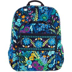 Vera Bradley Campus Backpack in Midnight Blues ($76) ❤ liked on Polyvore featuring bags, backpacks, backpack, midnight blues, vera bradley backpack, rucksack bag, padded bag, vera bradley bags and strap backpack