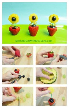 Kitchen Fun With My 3 Sons: Fruit Flower Snack for Mother's Day! L'art Du Fruit, Deco Fruit, Fruit Art, Fun Fruit, Cute Snacks, Cute Food, Funny Food, Kreative Snacks, Fruit Creations