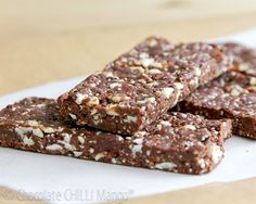 """Heavenly Raw Chocolate Protein Bars    These bars certainly contain only good, healthy, nutritious ingredients.  But they  don't taste like a """"health bar"""".  They are fantastically moist, caramelly sweet from the dates, chocolately, and slightly gooey, with a nice crunch from the nuts and seeds."""