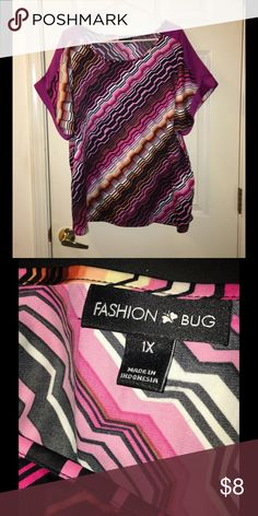 Fashion Bug Satin Pink Print Top 1X Shades of pink satin print top.  Short sleeve.  Size 1X.  Fashion Bug.  Great condition.  Important:   All items are freshly laundered as applicable prior to shipping (new items and shoes excluded).  Not all my items are from pet/smoke free homes.  Price is reduced to reflect this!   Thank you for looking! Fashion Bug Tops Blouses