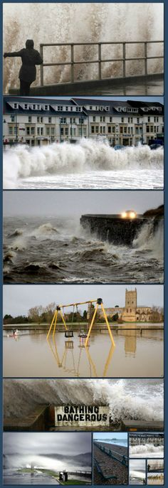 "UK storms disruption: 'People living on the west coast are being warned to expect ""exceptional waves"" on Monday as what forecasters describe as a highly unusual set of storms continues to cause disruption' [Collage made with one click using http://pagecollage.com] #pagecollage"