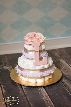 Vintage Small Two Tier Diaper Cake (Custom Order for Stephanie) by RoxyJuneDesigns on Etsy