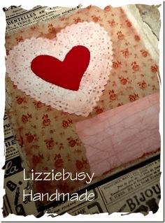 Heart doily and fabric
