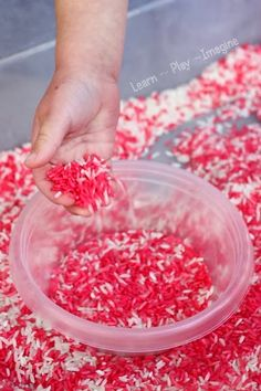 Christmas rice for sensory play that smells just like a candy cane! My kids at work would love this! Christmas Art For Kids, Preschool Christmas, Noel Christmas, Christmas Activities, Preschool Crafts, Christmas Themes, Christmas Crafts, Craft Kids, Winter Activities
