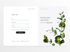 Daily UI #001 Linked Spaces Sign up by Daniela Pretorius Login Page Design, Dashboard Design, App Design, Tree Tech, Sign Up Page, Snap Out Of It, Daily Ui, Word Of Mouth, Show And Tell