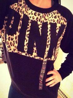 Victoria's Secret Leopard Cheetah Animal Print New Release Crew Neck Sweatshirt