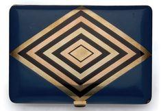 Cigarette Case, Black Enamel, Pink And Gold, Yellow, Blue, Art Deco, Diamonds, Button, Silver