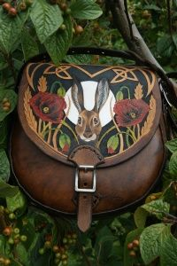 small sporran sized shoulder bag with secure inside pocket and hare with poppies design