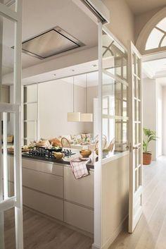 Choosing New Kitchen Countertops Semi Open Kitchen, New Kitchen, Kitchen Dining, Kitchen Decor, Awesome Kitchen, Kitchen Cabinets, Kitchen Models, Küchen Design, Interior Design Kitchen