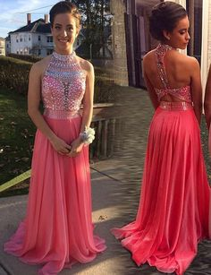 Bg62 Long Prom Dresses 2016,New Arrival Dress for Graduation,Sleeveless A Line with Beaded Sequin Chiffon Prom Dress,Halter Homecoming Dress