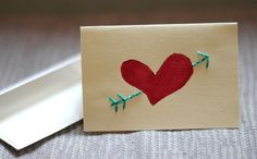 valentine's day card with sewing supplies