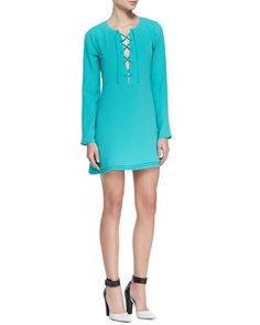 Markie Lace-Up Front Long-Sleeve Dress by Ramy Brook at Neiman Marcus.