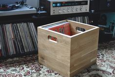 10 incredible record player consoles to reimagine your living space Record Storage Box, Vinyl Storage, Lp Storage, Wooden Storage Boxes, Crate Storage, Storage Cubes, Record Holder, Wooden Crates Vinyl, Wooden Diy