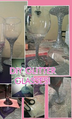DIY Glitter Wine Glass!   Bling out any glass with a spray ashesive, glitter and a little mod podge to seal!  Beautiful & super Easy!  This image shows my first attempt and it came out awesome! Makes a great gift! #GlitterGlasses