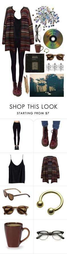 """O"" by elenadslva ❤ liked on Polyvore featuring Dr. Martens, H&M, Leon & Harper and Shwood"